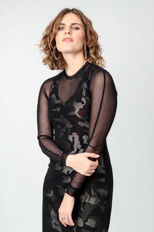Kara Grace Kjóll - Grænn Camo