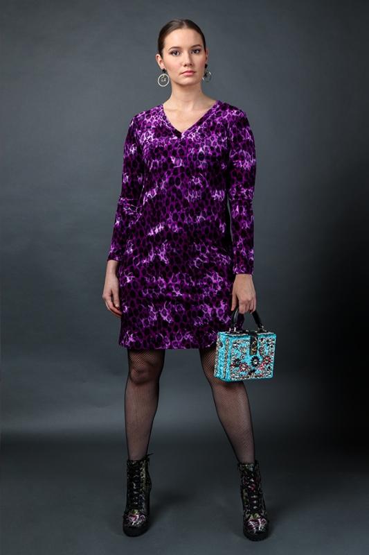 Dúfa kjóll - Neon Purple Leopard