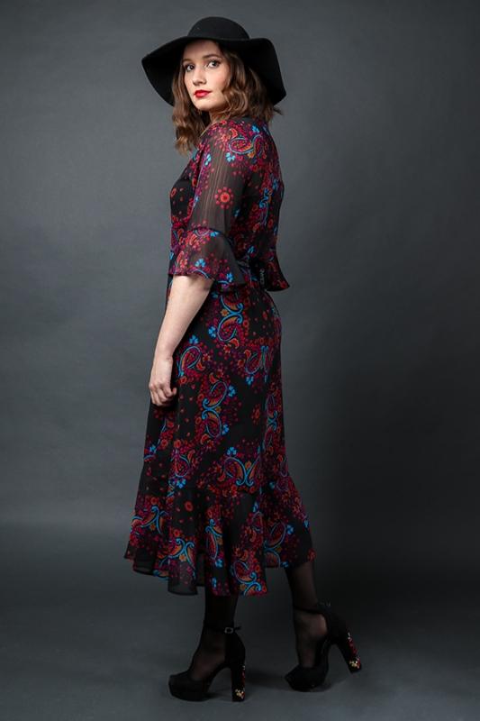 Lólíta Kjóll - Red/ Purple Paisley Chiffon