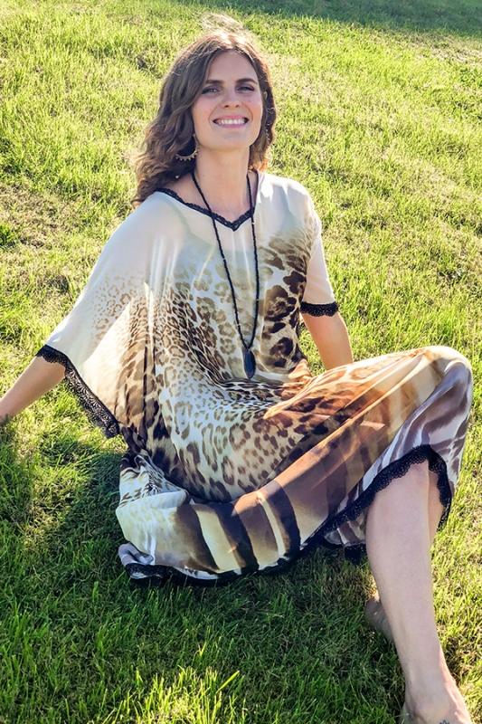 Salka Kjóll - Leopard Chiffon