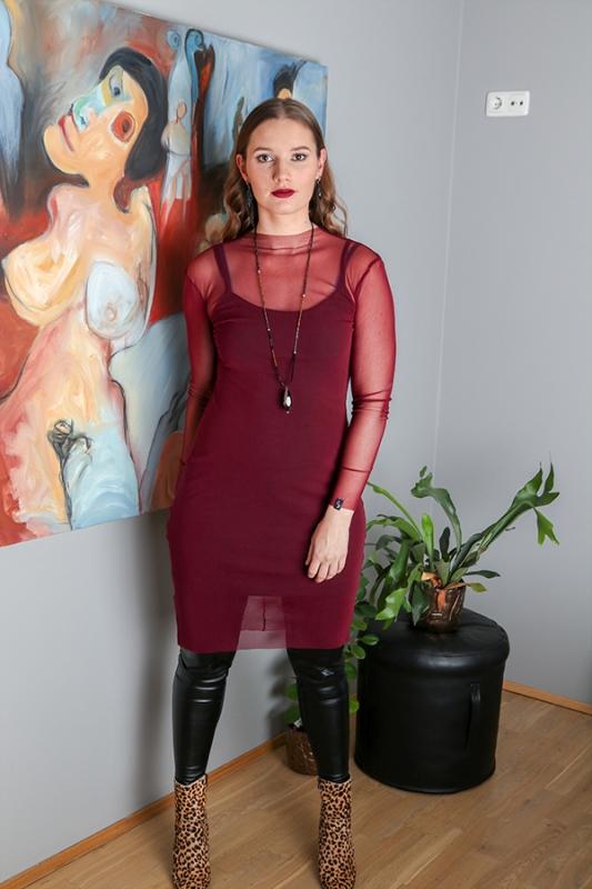 Anna Kjóll - Vínrauður Mesh Síður