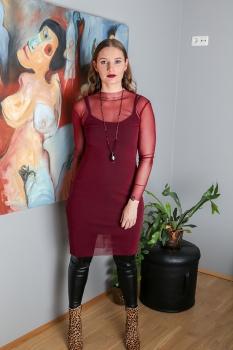 Anna Kjóll - Vínrauður Mesh Síður image