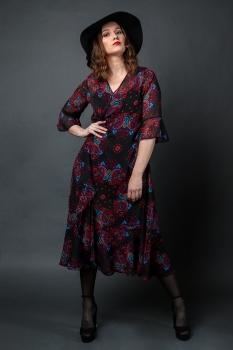 Lólíta Kjóll - Red/ Purple Paisley Chiffon image