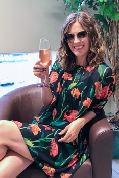 Klara Kjóll - Orange Rósir Chiffon image