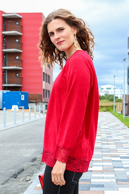 Helena Peysa - Rauð Prjóna